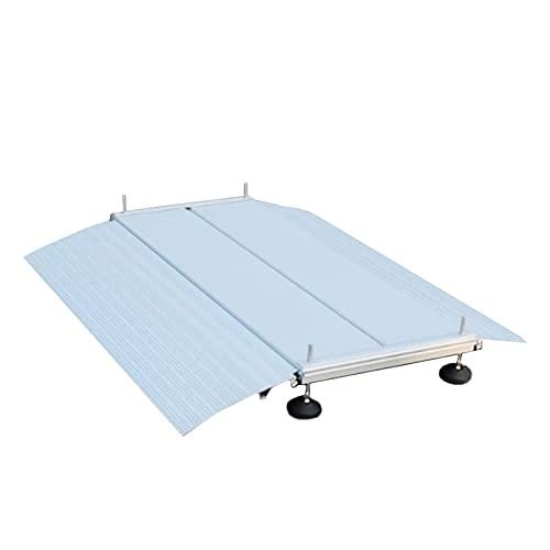 Tröskel ramp, kraftig aluminium rullstolar ramp, halkfri dörröppningsramp med justerbar stödfot, för inomhus utomhus (storlek: 102 × 74 cm × 10 cm)