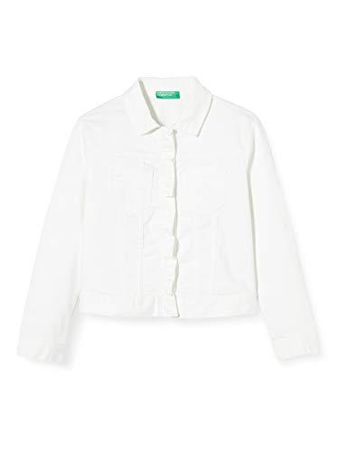 Benetton Giubbino Abrigo, Blanco (Bianco 101), 110 (Talla del Fabricante: X-Small) para Niñas
