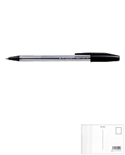 三菱鉛筆 ボールペン 事務用 SA-R10P.24 黒 【× 4 本 】 + 画材屋ドットコム ポストカードA