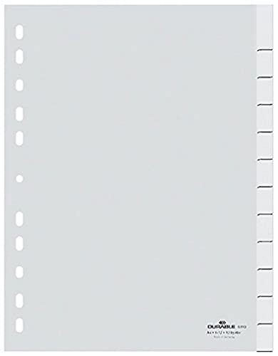 Durable Blanko-Register aus PP, A4 hoch, volldeckend, 1-12 beziehungsweise Januar-Dezember, weiß, 641002
