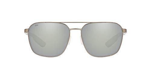 Costa Del Mar Men's Wader Rectangular Sunglasses, Brushed Gunmetal/Grey Silver Mirrored Polarized 580G, 58 mm