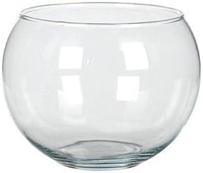Jarrón esférico de vidrio transparente-D13 cm