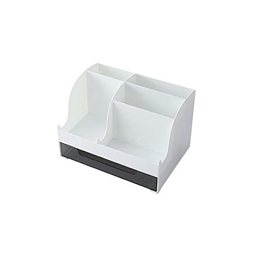 Caja de almacenamiento de escritorio, caja de almacenamiento cosmética, material seguro, fácil de tomar, impermeable y a prueba de humedad-blanco
