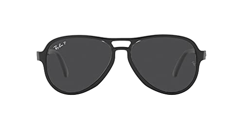 Ray-Ban Men's RB4355 Vagabond Pilot Sunglasses, Black Transparent Black/Polarized Black, 58 mm