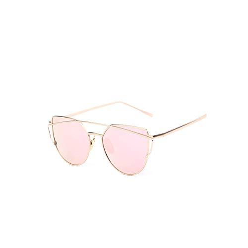 Daawqee Gafas de sol,Gafas para fiestas, Cat Eye Sunglasses Women Vintage Metal Mirror Sun Glasses Flat Sun Glasses Ladies Sunglasses UV400