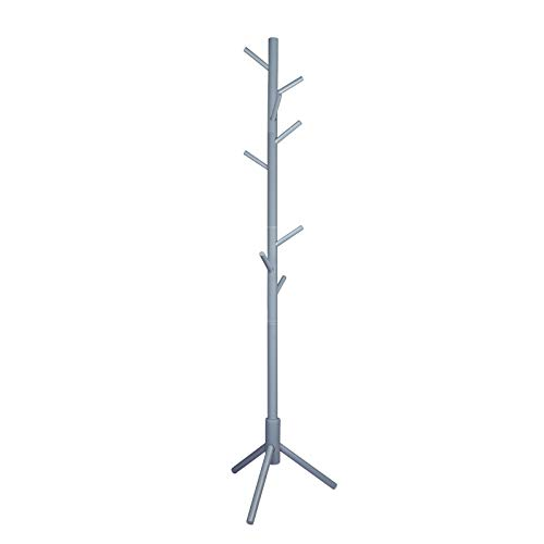 POJAGU Wooden Tree Coat Rack with 3 Adjustable Sizes, 8 Hooks, Easy Assembly Free Standing Solid Coat Hanger Stand for Clothes, Garment, Hats, Umbrellas, Scarves in Hallway, Entryway, Gray