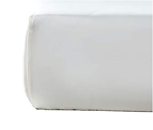 NORA HOME Sabana Bajera Ajustable Lisa 100% Algodon Saten Mercerizado de 300 Hilos Extra Suave (Blanco, 95 x 200 x 30 cm)