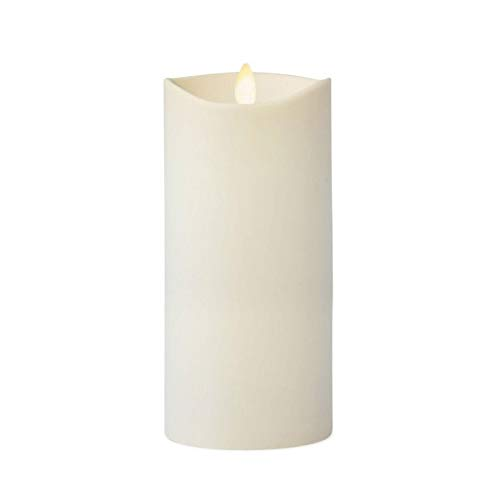 Luminara Flameless Outdoor Pillar Candle Tall (Ivory, Unscented, 7 Inches Tall), Centerpiece, Melted Edge, Flickering, Smooth Finish, Plastic, LED Battery Operated
