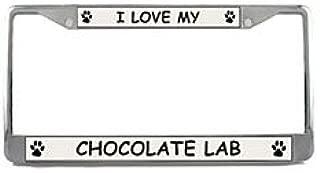 Chocolate Lab License Plate Frame (Chrome) 5 Year Warranty