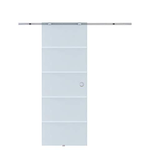 HOMCOM Glasschiebetür Schiebetür Glastür Zimmertür teilsatiniert 775 x 2050 mm