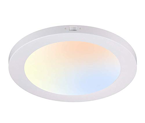 Cloudy Bay 12 Inch LED Flush Mount Ceiling Light,,17W 1100LM Dimmable, CRI 90+,3 Color Temperature Adjustable,3000K/4000K/5000K,White Finish