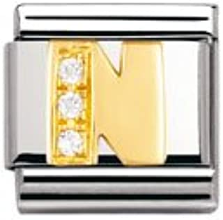 NOMINATION Composable Classic Charm LETTERS Stainless Steel /& 18k Gold Letter F
