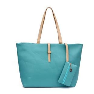 Mdsfe DAMEN'S Bag Fashion Casual Women's Bag Koreanische Gürtelschnalle Umhängetasche Große Handtasche Totes PU-Leder - Grün, 48x30x13cm