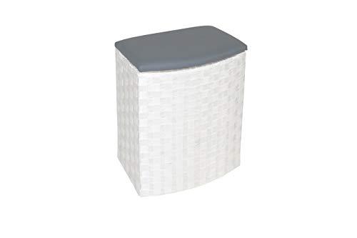 Kobolo Praktischer Halbrunder Wäschebehälter Wäschesammler aus Nylongeflecht mit gepolstertem Deckel aus Kunstleder