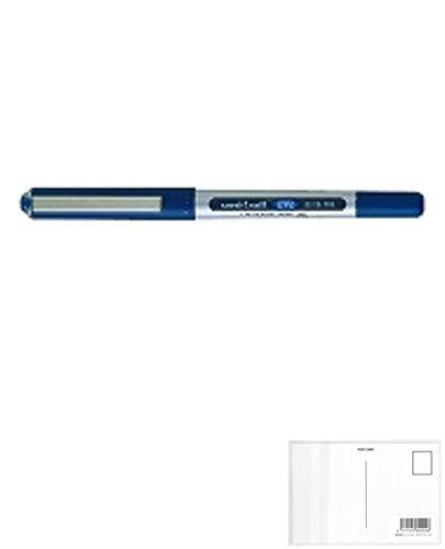 三菱鉛筆 水性ボールペン ユニボールアイ(0.5mm) 青 UB-150.33 【 5本】 + 画材屋ドットコム ポストカードA
