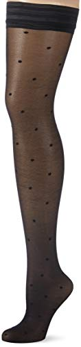 GLAMORY Damen Dotty Halterlose Strümpfe, 30 DEN, Schwarz (Schwarz Schwarz), X-Large (Herstellergröße: XL-(48-50))