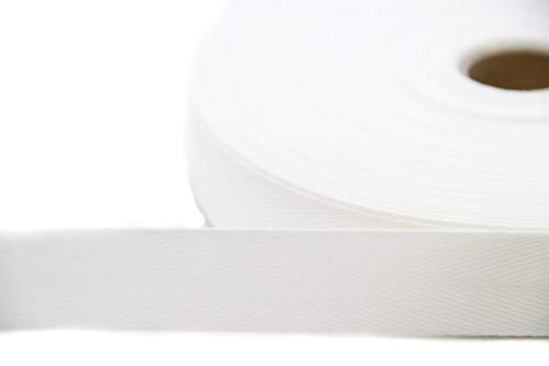 NTS Nähtechnik 50m Rolle Köperband, 10mm breites Nahtband aus 79% Baumwolle (weiß, 10)