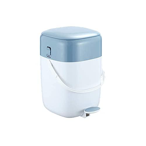HYLK Bote de basurapaso apaso Bote de Basura doméstico con Tapa Bote de Basura silenciosoparapiso Sala de Estar Cocina Baño Bote de Basura Bote de basurapara Interior (Color: Azul)