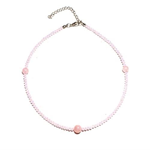 YAOLUU Collar para Mujer 1 0MM Collar de Gargantilla de Cristal de Moda de Piedra Natural para Las Mujeres Hecho a Mano con Cuentas de Yoga Babero Femme joyería Collares Colgantes
