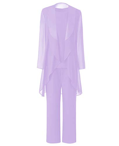 Zeattall Women's Mother of Bride Dress with Jacket for Wedding Three Pieces Mother of Bride Groom Pant Suit(US12,Lavender)