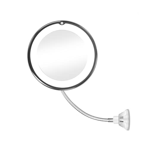 2021 Newly upgraded led makeup mirror 10x magnification, bathroom magnification vanity mirror, 360 Degree flexible Swivel, Battery Operated, Portable Cordless Travel and Home Vanity Mirror