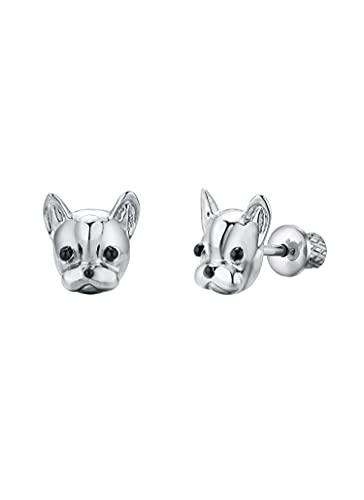 Earrings For Girls, French Bulldog Hypoallergenic Earrings for Girls, Stud Screw On Safety Backs, Stainless Steel Ultra Sensitive Ears Post For Kids, Toddlers, Little Girls, Teens