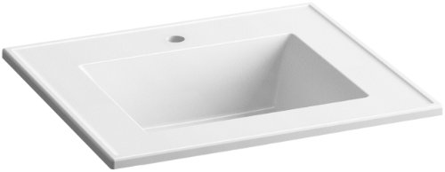 KOHLER K-2777-1-G81 Ceramic/Impressions 25-Inch Rectangular Vanity-Top Bathroom Sink with Single Faucet Hole, White Impressions