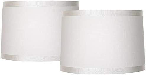 Off White Fabric Set of 2 Drum Shades 15x16x11 Spider Brentwood product image