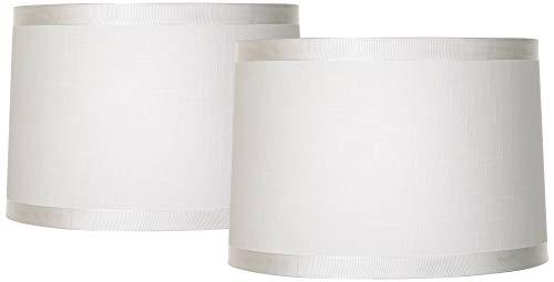 Set of 2 Off-White Fabric Medium Drum Lamp Shades 15