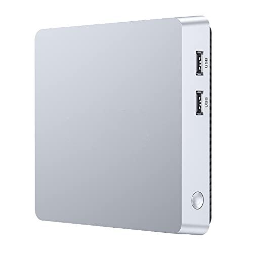 Mini PC de 8 GB de RAM + 128 GB de ROM, Intel Atom Z8350, Windows 10 Pro, compatible con 2,5 pulgadas SATA SSD/Bluetooth 4.2/Dual WiFi 2.4/5G/USB 3.0/4K HD Mini ordenador de sobremesa