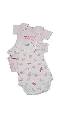 Coppia body LIABEL 2 pezzi per neonata mezza manica in caldo cotone interlock (D202 0004 ROSA DIS. ANIMALI, 6 MESI 66 cm)