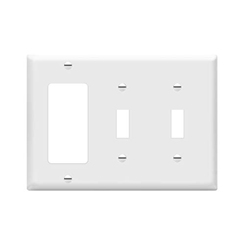 ENERLITES Combination Double Toggle/Single Decorator Rocker Outlet Wall Plate, Standard Size 3-Gang Light Switch Cover(4.5