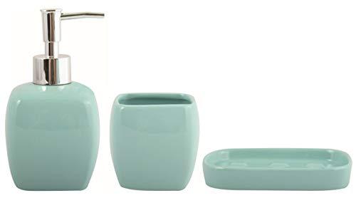 MSV Bad Accessoires Keramik 3-teilig - Seifenspender, Seifenschale, Zahnputzbecher Pastellgrün