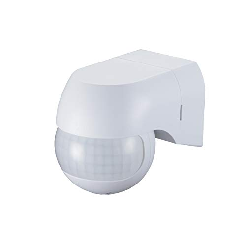 Popp-Detector de movimiento exterior IP44, LED, montaje en pared, programable, sensor de infrarrojos, alcance 12m / 180°, max. 800W/ 500W(SM-005)