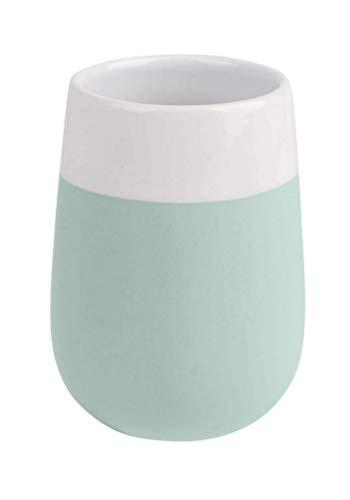 WENKO Zahnputzbecher Malta Mint/Weiß Keramik - Zahnbürstenhalter für Zahnbürste und Zahnpasta, Keramik, 8 x 11 x 8 cm, Minzgrün