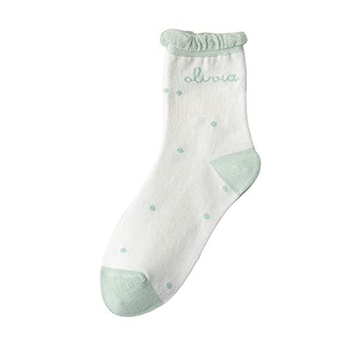 bibididi Calcetines de algodón con Estampado de Cuadros de Margaritas Dulces con Ribete de Encaje y Burbujas para Mujer, Pila de Medias, Palabras en inglés
