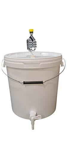 sil2018 Kompletter Gärbehälter 20L - Set: Gäreimer mit Gärröhrchen und Dichtgummi und Ablaufhahn aus Kunstoff, Eimer für Bier oder Wein mit Griff, weiß
