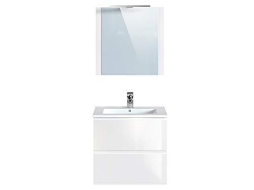 Marca Amazon -Movian Argenton - Mueble de baño con espejo y lavabo, 61 x 46,5 x 57 cm, blanco