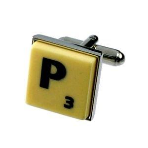 English Gems boutons de manchette Lettre P x2 avec étui Noir