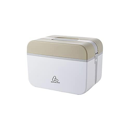 Wihgfcv Caja médica Kit de Primeros Auxilios portátiles Home Large Capacity Plastic Multi-Capa Caja de Medicina Viajes al Aire Libre Camping Supervivencia Cajas médicas Caja (Color : L Brown)