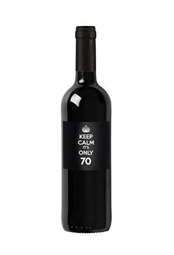 Bottiglia di vino personalizzata Merlot del Veneto IGT - Keep Calm it's only - Idea regalo personalizzato per compleanno e anniversario - 750 ml (Nero)