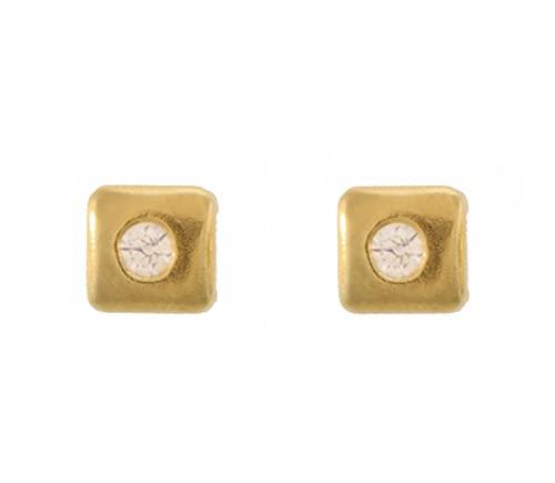 Córdoba Jewels   Pendientes en Plata de Ley 925 bañada en oro con diseño Square Zirconium Gold