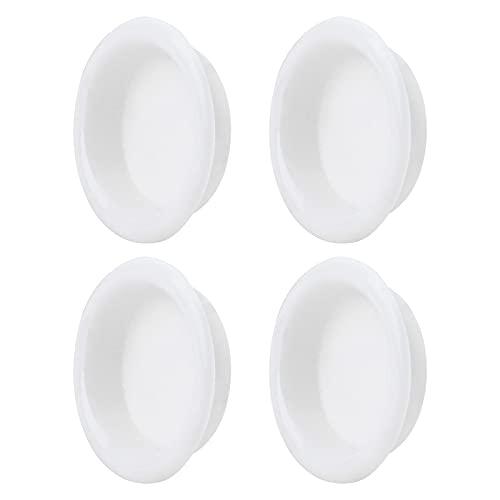Paquete de 4 tiradores de dedo para puerta de armario, tirador deslizante redondo, tirador empotrado para manijas de armario de cocina, tirador de puerta invisible, blanco brillante