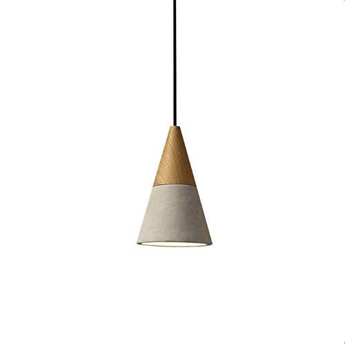 Suytan Lámpara Colgante de Techo de Madera con Pantalla de Cemento, Lámpara Colgante Geométrica de Araña, Luces de Suspensión con Base...