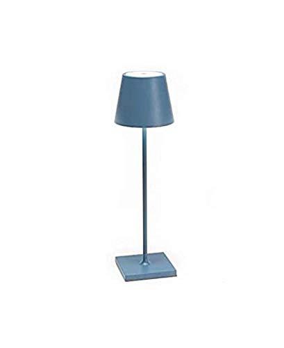 Zafferano Poldina Azul Añil Lámpara de Mesa LED 2W 3000K Recargable IP54Exteriores