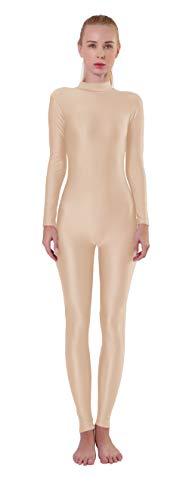 Kepblom Womens Turtleneck Long Sleeve Dance Unitard One Piece Full Bodysuit Costumes
