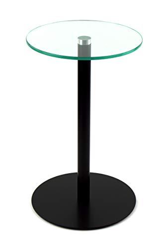 freeroom24 Blumensäule/Beistelltisch/Glastisch/Tisch/rund/Ø 30cm x H. 50cm / Schwarz matt