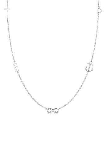 Elli Halskette Damen Kreuz Herz Infinity Anker Stern Symbole in 925 Sterling Silber