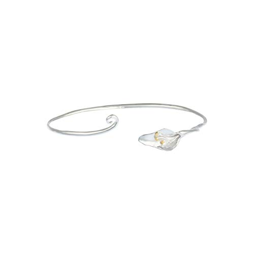 Sterling Silver Lily Cuff Bangle with Gold Plated Detail