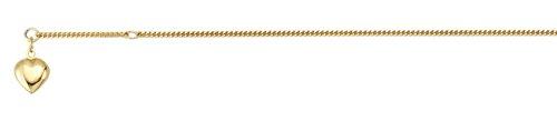 ASS 333 Gold Damen Panzer Fußkette Fußkettchen mit Herz und Zwischenöse einstellbar 23-25cm